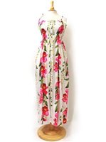 Two Palms Orchid & Plumeria/White Summer Maxi Dress