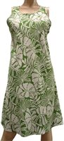 Paradise Found Pareau Leaves Olive Rayon Hawaiian A-Line Tank Short Dress