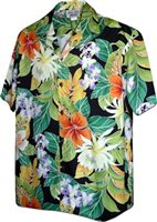 Pacific Legend Tropical Flowers Black Cotton Men's Hawaiian Shirt
