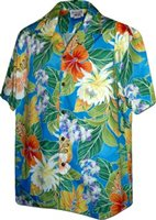 Pacific Legend Tropical Flowers Blue Cotton Men's Hawaiian Shirt