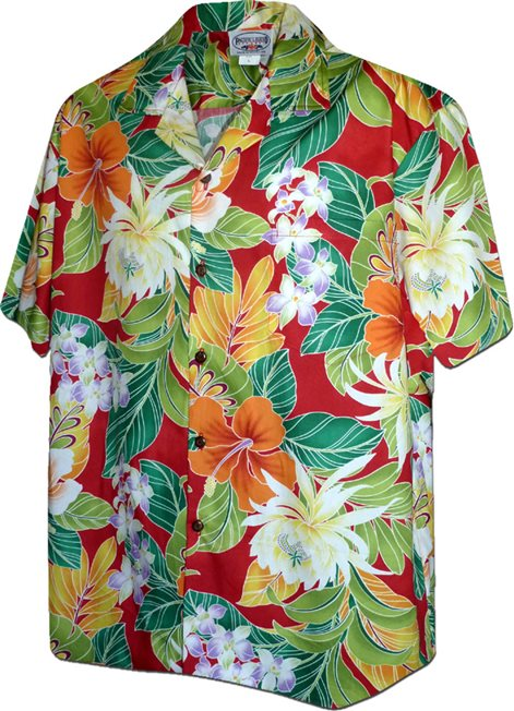 1ae32db20 Pacific Legend Tropical Flowers Red Cotton Men's Hawaiian Shirt ...