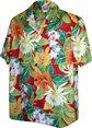 Pacific Legend Tropical Flowers Red Cotton Men's Hawaiian Shirt
