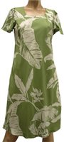 Paradise Found Paradise Banana Olive Rayon Hawaiian A-Line with sleeves Short Dress [40% OFF]