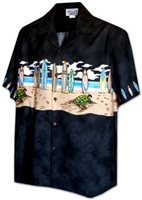 Pacific Legend Surfboard Black Cotton Boys Junior Matched Front Hawaiian Shirt