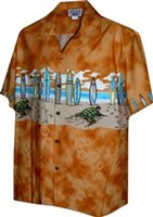 Pacific Legend Surfboard Orange Cotton Boys Junior Matched Front Hawaiian Shirt