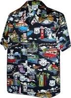 Pacific Legend Route 66 Black Cotton Men's Hawaiian Shirt