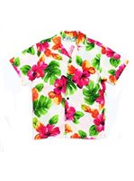Two Palms Hibiscus Watercolor White Rayon Boys Hawaiian Shirt