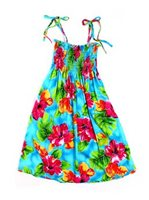 Two Palms Hibiscus Watercolor Blue Rayon Girls Hawaiian Summer Dress