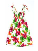 Two Palms Hibiscus Watercolor/White Girls Summer Dress