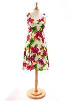 Two Palms Hibiscus Watercolor/White Sundress