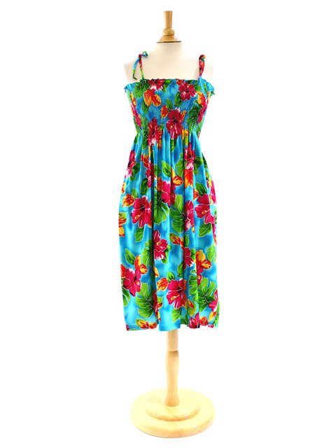 d32f0188e6c45 Two Palms Hibiscus Watercolor/Blue Summer Dress [Hibiscus Watercolor / Blue]