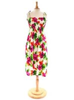 Two Palms Hibiscus Watercolor/White Summer Dress