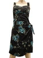 Paradise Found Sakura Black Rayon Hawaiian Sarong Short Dress