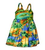 Pacific Legend Crocodile Blue Cotton Toddlers Hawaiian Bungee Dress