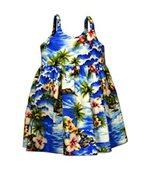 Pacific Legend Diamond Head Blue Cotton Toddlers Hawaiian Bungee Dress