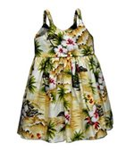 Pacific Legend Diamond Head Maize Cotton Toddlers Hawaiian Bungee Dress