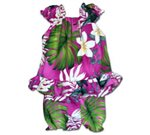 Pacific Legend Plumeria & Monstera Pink Cotton Infant Girls Hawaiian Cabana Set