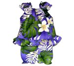 Pacific Legend Plumeria & Monstera Purple Cotton Infant Girls Hawaiian Cabana Set