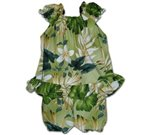 Pacific Legend Plumeria & Monstera Sage Cotton Infant Girls Hawaiian Cabana Set