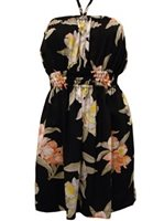 Paradise Found Orchid Corsage Black Rayon Hawaiian Strapless Short Sundress