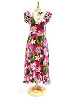 Pacific Legend Plumeria & Monstera Pink Cotton Hawaiian Ruffle Long Muumuu Dress