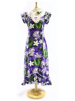 Pacific Legend Plumeria & Monstera Purple Cotton Hawaiian Ruffle Long Muumuu Dress