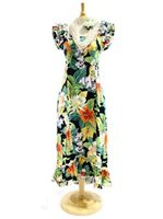 Pacific Legend Tropical Flowers Black Cotton Hawaiian Ruffle Long Muumuu Dress