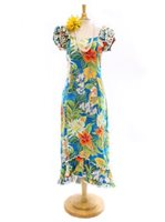 Pacific Legend Tropical Flowers Blue Cotton Hawaiian Ruffle Long Muumuu Dress