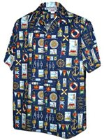 Pacific Legend Ocean Navy Cotton Men's Hawaiian Shirt