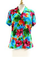 Two Palms Hibiscus Watercolor Blue Rayon Women's Hawaiian Shirt