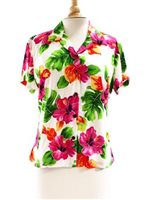 Two Palms Hibiscus Watercolor White Rayon Women's Hawaiian Shirt