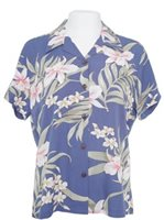 Two Palms Pali Orchid Blue Rayon Women's Hawaiian Shirt