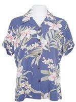 100e62f6 Two Palms Pali Orchid Blue Rayon Women's Hawaiian Shirt