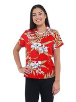 Two Palms Pali Orchid Red Rayon Women's Hawaiian Shirt