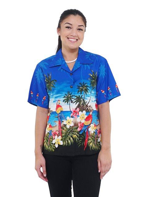 Pacific Legend Parrot Blue Cotton Women's Hawaiian Shirt   AlohaOutlet