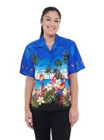Pacific Legend Parrot Blue Cotton Women's Hawaiian Shirt