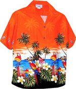 Pacific Legend Parrot Orange Cotton Women's Hawaiian Shirt