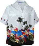 Pacific Legend Parrot White Cotton Women's Hawaiian Shirt