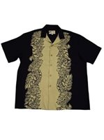 Paradise Found Monstera Panel Black & Tan Rayon Men's Hawaiian Shirt