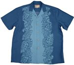 Paradise Found Monstera Panel Blue Rayon Men's Hawaiian Shirt