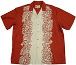Paradise Found Monstera Panel Rust Rayon Men's Hawaiian Shirt