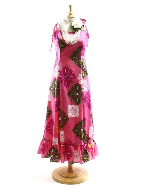 88eae0fadd9d Good Times Hawaiian Quilt Pink Spaghetti Strap Frill Dress | AlohaOutlet