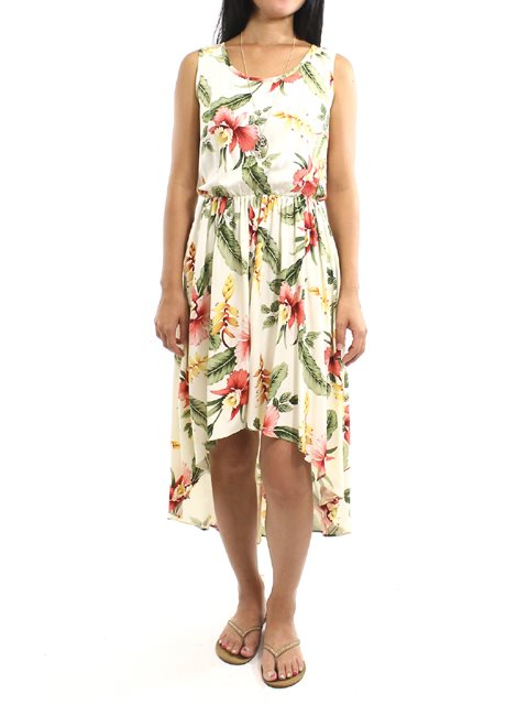 d75b7749dacd Two Palms Sonic Beige Rayon Hawaiian Hi-Low Midi Dress | AlohaOutlet