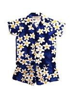 Royal Hawaiian Creations Plumeria Blue Cotton Boys Hawaiian Cabana Set