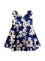 Royal Hawaiian Creations Plumeria Blue Cotton Girls Hawaiian Sundress