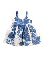 Royal Hawaiian Creations Hibiscus Panel Blue Poly Cotton Girls Hawaiian Elastic Dress