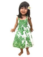 Royal Hawaiian Creations Hibiscus Panel Green Poly Cotton Girls Hawaiian Elastic Dress