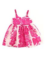 Royal Hawaiian Creations Hibiscus Panel Pink Poly Cotton Girls Hawaiian Elastic Dress