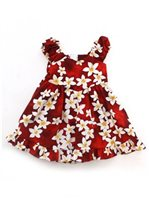 Royal Hawaiian Creations Plumeria Red Cotton Girls Hawaiian Sundress