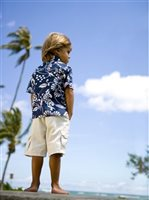 Kahala Duke's Pareo Navy Cotton Boys Hawaiian Shirt